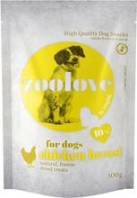 Økonomipakke: zoolove frysetørrede hundesnacks 5 x 100 g - Hønsebryst