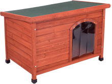 Woody hundehus med fladt tag og plast-dør - Str. S: B 85 x D 57 x H 58 cm