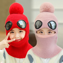 Children's Balaclava Mask Face Neck Warmer Thick Scarf Mask Beanies Hat Winter Warm Wool Hat Windproof Cover Face Cycling Hat