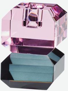 Lysestage, glas, pink/røget