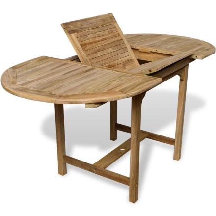 vidaXL Teak Utendørs utvidbart spisebord (110-160)x80x75 cm