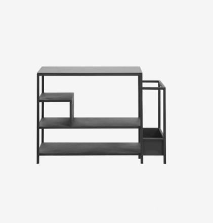 Skoreol i jern med glasbordplade - 59x85 cm - sort