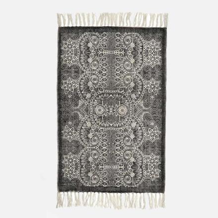 ORIENTAL bomuldstæppe - 200x250 - sort/råhvid
