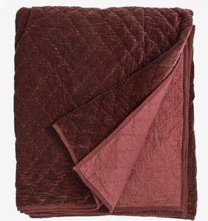 Quiltet sengetæppe i velour - 220x270 cm - bordeaux