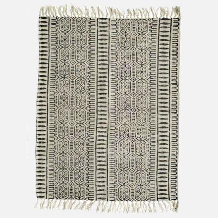 CANVAS bomuldstæppe - mønstret - 200x250 - sort/off white