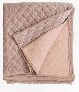 Quiltet sengetæppe i velour - 220x270 cm - støvet rosa