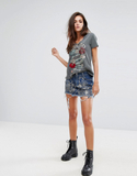 Religion Denim Mini Skirt With All Over Sequin And