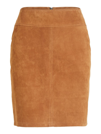 VILA Suede Mini Skirt Women Brown