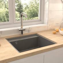 vidaXL køkkenvask med overløbshul granit grå
