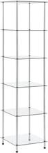 vidaXL reol med 6 hylder 40x40x160 cm hærdet glas transparent