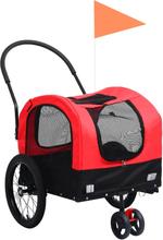 vidaXL 2-i-1 cykelanhænger og joggingklapvogn kæledyr rød sort