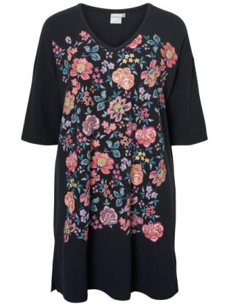 JUNAROSE Flower Printed Dress Women Black
