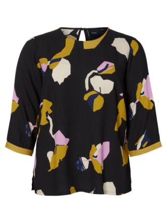 JUNAROSE Patterned 3/4 Sleeved Blouse Women Black