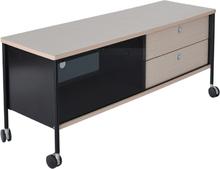 Mediabänk Alessi - 120 cm (ljus ek / svart)