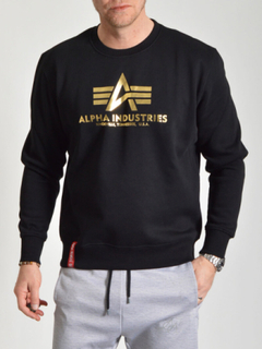 Basic Sweater Foil Print Black/Gold