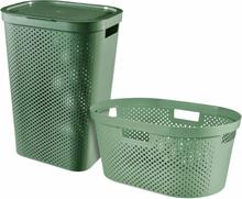 Curver Infinity Tvättkorg med korg 2 delar 40L+60L grön