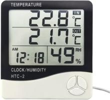 Väderstation med luftfuktighet och klocka