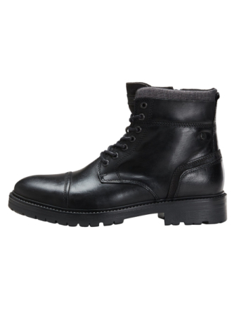 JACK & JONES Leather Boots Men Black