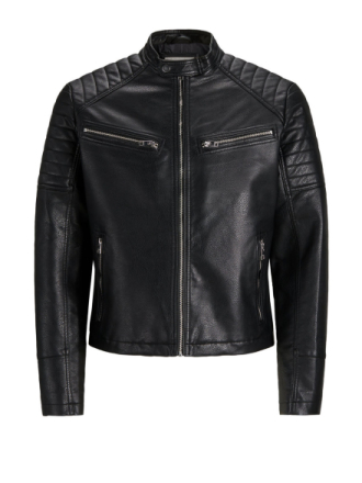 JACK & JONES Zipper Detail Faux Leather Jacket Men Black