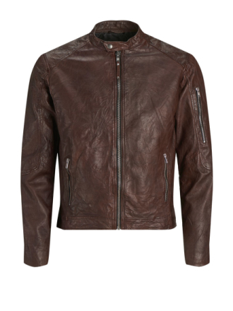 JACK & JONES Biker Style Leather Jacket Men Brown