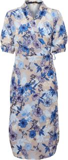 Dranella Dame Letvævet kimono med 3/4 ærmer og slå-om effekt. Kimonoen - Lysegrå/blå