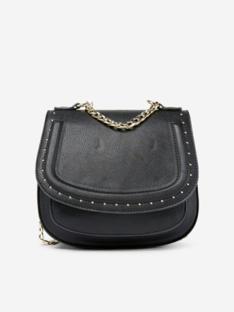 PIECES Chain And Studs Crossbody Bag Women Black