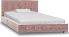 vidaXL Sängram rosa sammet 90x200 cm