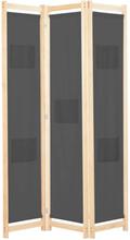 vidaXL 3 Paneelinen Tilanjakaja harmaa 120x170x4 cm kangas
