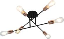 vidaXL Taklampa med glödlampor 2 W svart och koppar E27