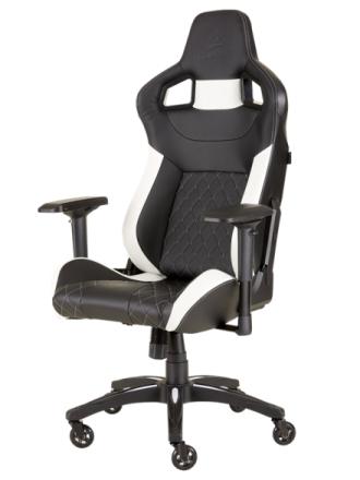 T1 RACE 2018 Gaming Chair - White Krzes?o gamingowe - Czarno-bia?y - Skóra PU - Do 120 kg