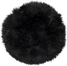 Gently rund stolsdyna - Svart fårskinn
