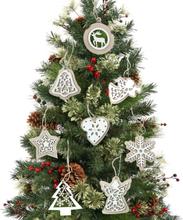 2Pcs Naturholz Weihnachtsbaum Anhänger hängende Ornamente Handwerk Geschenke Weihnachten Neujahr Party Dekor Home Decora