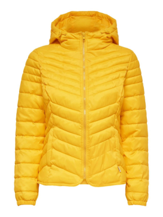 ONLY Solid Colored Quilted Jacket Women Yellow