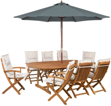 Puutarhasetti - pöytä ja 8 tuolia beigeillä pehmusteilla ja varjolla MAUI