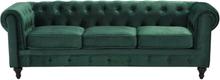 3-istuttava sohva samettinen vihreä CHESTERFIELD