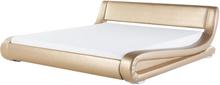Ylellinen nahkaverhoiltu parisänky 160x200 cm kultainen AVIGNON