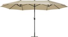 Jättikokoinen aurinkovarjo tuplavarjolla 460 cm harmaanbeige SIBILLA