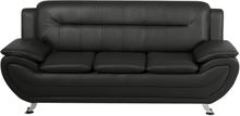 3-istuttava musta keinonahkainen sohva LEIRA
