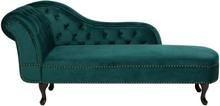 Samettinen smaragdinvihreä divaani vasenkätinen NIMES