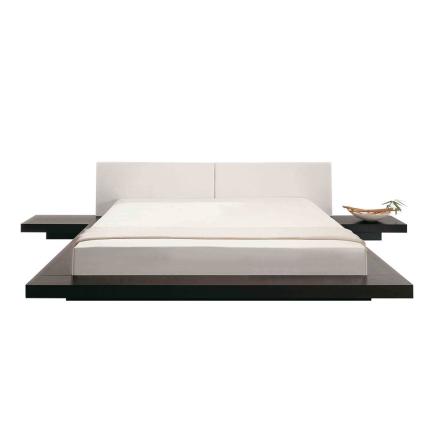Japanilaistyylinen sänky - Tummanruskea - Sis. sälepohjan ja yöpöydät - 180 x 200 cm - ZEN