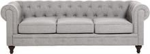 3-istuttava sohva kankainen vaaleanharmaa CHESTERFIELD