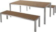 Puutarhakalustesetti pöytä ja penkit ruskea NARDO