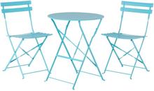 Puutarhapöytä ja kaksi tuolia sininen FIORI