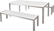 Puutarhakalustesetti pöytä ja penkit valkoinen NARDO