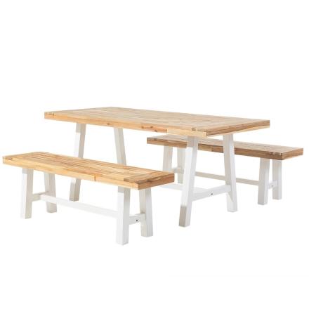 Moderni pirttipöytä ja 2 penkkiä ulkokäyttöön - Valkoinen/puu - SCANIA