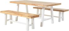 Puutarhakalustesetti pöytä ja 2 penkkiä valkoisilla jaloilla SCANIA