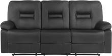 3-istuttava säädettävä keinonahkainen sohva musta BERGEN
