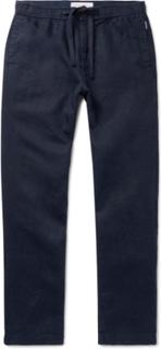 Navy Wide-leg Linen Drawstring Trousers - Navy