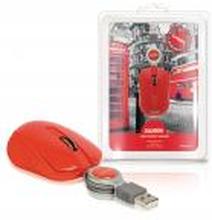 Mus Med Kabel Transportabel 3 Buttons Rød