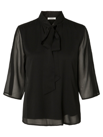 PIECES Bow Detailed Shirt Women Black